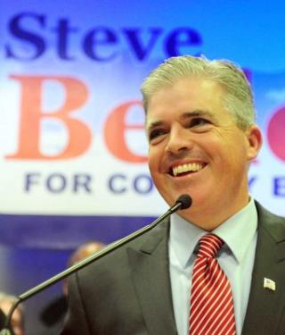 Photo credit: Newsday / Thomas A. Ferrara | Steve Bellone speaks to supporters. (Nov. 8, 2011)